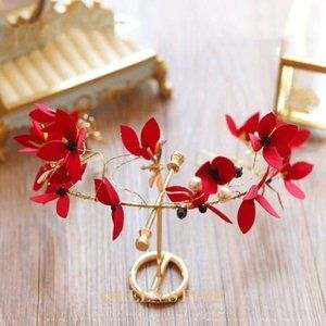 Dragonfly Red Black Gold Floral Wired Tiara RF0222
